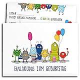 • 12x Einladungskarten zum Kindergeburtstag mit Umschlägen | Monster-Party | Jungen & Mädchen |...