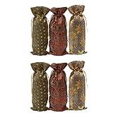NUOBESTY Weihnachtswein Flaschenverschluss 6 Stück 37X15cm Kordelzug Weihnachtswein Flaschenhüllen...