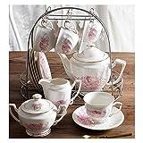 Tee-Set Kaffeetasse Teekanne Keramik Haushalt 15 Kaffee-Set Goldrand Blume Tee-Set Kaffeetasse...