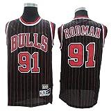 Herren-Trikots - Chicago Bulls # 91 Dennis Rodman Vintage-Trikots, Cooles, Atmungsaktives...