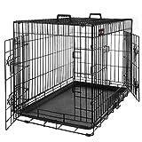 FEANDREA HundeKäfig 2 Türen Hundebox Transportbox faltbar TransportKäfig DrahtKäfig Katzen Hasen...