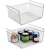 mDesign 2er-Set Hängekorb aus rostbeständigem Metall – großer Aufbewahrungskorb für die Küche...