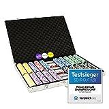 Pokerkoffer 1000 abgerundete Ocean Champion Chips hochwertige Metallkern Jetons 12 g Pokerset 3...