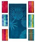 Strandtuch, Strandtücher 90x180 cm Baumwolle Frottee Velours Badetuch, Badetücher Blatt Blau