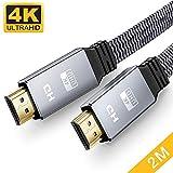 4K HDMI Kabel Flach 2Meter, Snowkids HDMI 2.0 auf HDMI Kabel 4K@60Hz Highspeed 18Gbps HDMI Kabel...