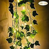 Lichterkette mit Blättern,20/100 LEDs Efeu Blumengirlande Lichterkette flexibles Kupfer für...