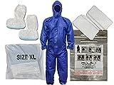 Post-Dekontaminationsset mit blauen Overalls, 2 Handtüchern, rutschfesten Schuhüberzügen,...
