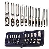 12er Locheisen, Locheisensatz, Hohl Punch Set, Runde Locher Cutter Leder Punch Werkzeug für Leder...