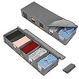 2 Stück Unterbett Aufbewahrungstasche, Faltbare Kleideraufbewahrung mit Klarem Fenster Vliesstoff...