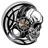 ABEQW 3D-Uhren Black Skull Head Wanduhr mit LED-Hintergrundbeleuchtung Evil Skull Headphones...