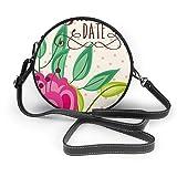 Generic Save the Date Hochzeits-Umhängetasche, rund, aus PU-Leder, mit Reißverschluss, für Damen