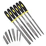 KALIM-Nadelfeilen-Set, 6-teilige Holzraspel mit weichem, gummiertem Griff, Mini-Nadelfeile aus...