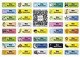 Sunnywall für Kleidung Namensaufkleber Aufbügel-Etiketten Aufkleber Sticker 3,8x1,4cm | 37 Stück...
