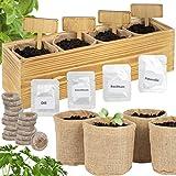 ONVAYA® Kräuter Anzuchtset mit Holzkiste | Indoor Kräutergarten | Grow Kit | Mini-Kräutergarten...