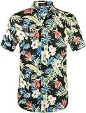 SSLR Herren Hawaiihemd Kurzarm Baumwolle Freizeithemd 3D Druck Blumen Button Down Aloha Shirts...