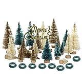 GRANDLIN 24 künstliche Mini-Weihnachtsbäume, mattiert, Sisal, Mini-Kieferbäume,...