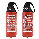Feuerlöscher 2X 2kg ABC Pulver Auto-Feuerlöscher -sehr handlich- mit KFZ-Drahthalter &. Griffhaube...