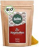 Hagebuttenpulver BIO (1kg) - Rosa Canina -Rohkostqualität - 100% Bio - aus ganzen Hagebutten...