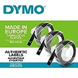Dymo S0847730 Vinyl-Prgeetiketten (Rolle 9 mm x 3m, weier Druck auf schwarzem Untergrund,...