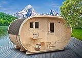 FinnTherm Saunahaus Oval inkl. Elektro-Ofen (6 kW) | Premium-Thermoholz - Gartensauna Auensauna