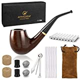 DIMJ Holz Tabak Pfeifen Set - gebogen Ebenholz Pfeife gebogen mit Rohrständer Halter und Rauchen...