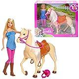 Barbie FXH13 - Pferd mit Mhne und Puppe mit beweglichen Knien, Puppen Spielzeug und Puppenzubehr ab...