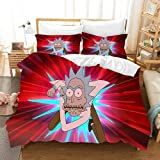 Jocmy Kinderbettwäsche Set Cartoon Rick and Morty Bettbezug 100% Mikrofaser 3-teiliges Set,135x200...