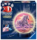 Ravensburger 3D Puzzle Nachtlicht Pferde am Strand - Puzzleball für Kinder ab 6 Jahren, LED...