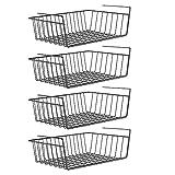 Kirmax Unter Dem Regal Korb, 4 Paket Schwarz Eisen Regal, für Stauraum auf Küchenschrank...