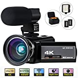 ACTITOP 4K Camcorder, Videokamera 48MP Full HD 1080P WiFi IR Nachtsicht 16X Digital Zoom Camcorder...