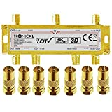TronicXL 6-Fach 4K Premium Koax Antennenverteiler HD 3D Verteiler Weiche Splitter zb für kompatibel...