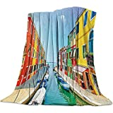 Nazi Mie Weiche gemütliche warme Wurfs-Decke Wurfs-Decke Wasser-Straße Burano Italiens Venedig