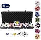 Display4top Pokerkoffer 500 Chips Laser Pokerchips Poker 12 Gramm , 2 Karten, Hndler, Small Blind,...