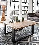 SAM Couchtisch 120x80 cm Ida, echte Baumkante, massiver Sofatisch aus Akazienholz, Metallbeine...