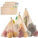 Zindoo Gemüsebeutel Obstbeutel Bio-Baumwolle Spart Plastiktüten, Brotbeutel Einkaufstaschen...