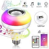 Haofy Musik Glühbirne E27 Bluetooth Lautsprecher RGB LED Smart Farbwechsel Lampe, Lautsprecher...