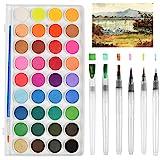 FOCCTS Wasserfarben Pinselstift Set,6 Stück Wasser Pinsel Aquarell Pinsel+36 Farben Wasserfarben...