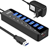 atolla USB Hub Aktiv 3.0 mit Netzteil, 7 Ports USB 3.0 Hub aktiver Datenhub mit Schalter und 1...