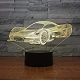orangeww LED Kühle Sportwagen Form 3D Nachtlicht USB Touch Button Auto Tischlampe 7 Farben Ändern...