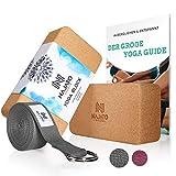 NAJATO Sports Yoga Block Kork 2er Set – Mit Yoga Gurt & E-Book – Yogaklotz für Yoga und Pilates...