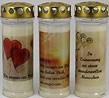 Kerzen Junglas 3 Stück Grablichter, Grabkerzen, 3er Set mit Spruch und Motiv, Größe 21x7,5 cm -...