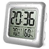 Iadong Digitale Badezimmer Duschuhr, große wasserdichte Wanduhr, Thermometer & Hygrometer...