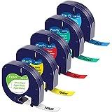5x MarkField Etikettenband Kompatible als Ersatz für Dymo Letratag Band 12mm Schriftband für...