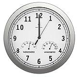 BonVivo Timerider Funkuhr Aus Aluminium Mit Integriertem Thermometer & Hygrometer, Große Wanduhr...