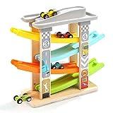 ZYLFN Holzrampe Racer 4 Stufe Race Track Car Rampe Set für 1 2 3 Jahre alt Junge Kleinkinder Kids...