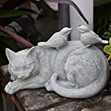 JNWEIYU Gartenstatue Dekoration im Freien Pastoral Cute Animal Kitten Vogel Reisn Ornaments Crafts...
