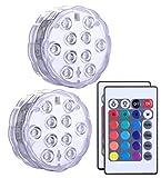 Alilimall Unterwasser Licht mit Fernbedienung, RGB Multi Farbwechsel wasserdichte LED Leuchten...