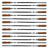 Andreas Dell 14x Grillspieße Schaschlikspieße Fleischspieße Edelstahl 550x10x2mm mit Holzgriff
