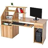 tectake 800731 Computertisch mit Tastaturauszug, PC Schreibtisch mit Ablage- und...