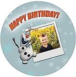 Für die Geburtstags Torte, Zuckerbild mit dem Motiv: Frozen Olaf und Ihr Wunsch Foto, Essbares Foto...